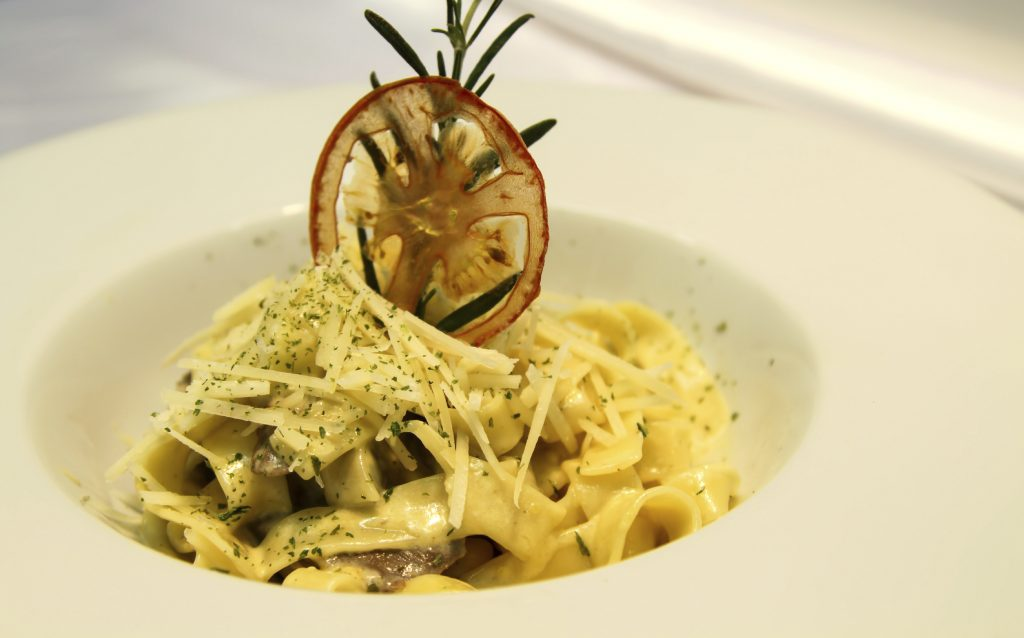 first dish at hotel alle alpi in the dolomites