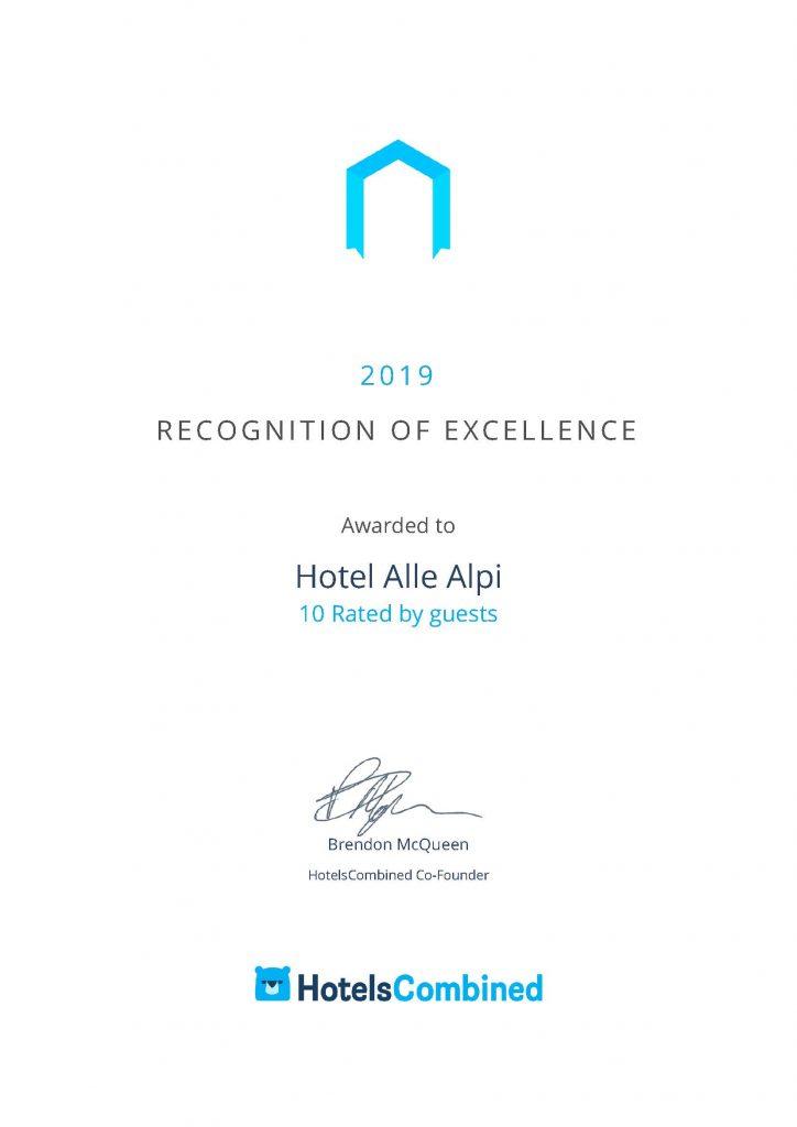 hotel alle alpi moena certificato eccellenza hotelscombined
