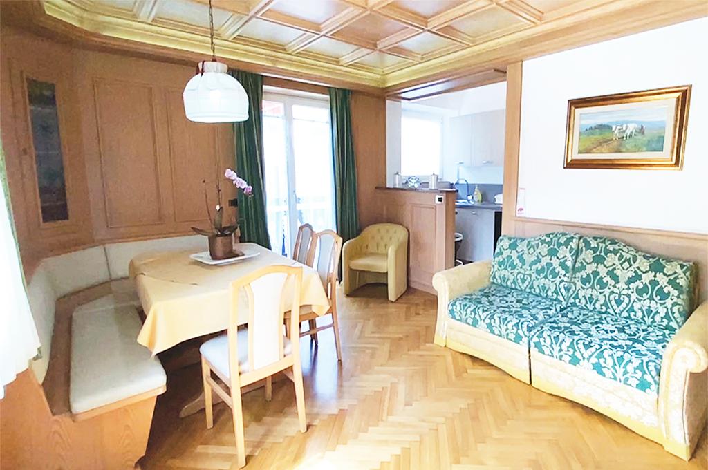 Wohnzimmer mit Sofa, TV und Essbereich, Küchenzeile, Backofen, Induktionskochfeld, Kühlschrank, und Waschmaschine