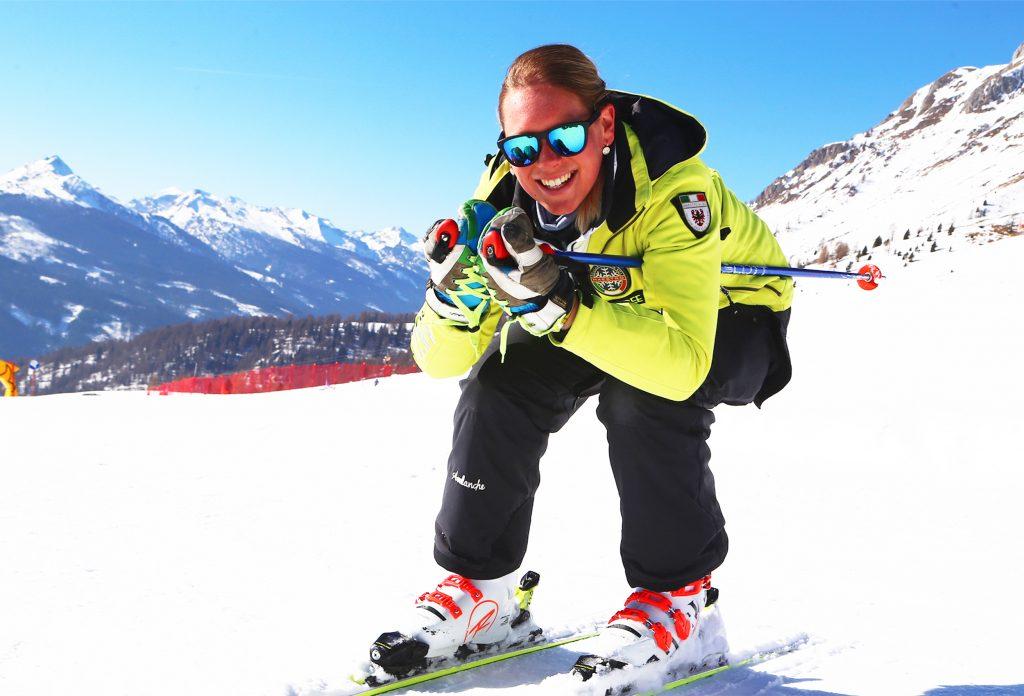 Skilehrer der Skischule von Moena im Fassatal